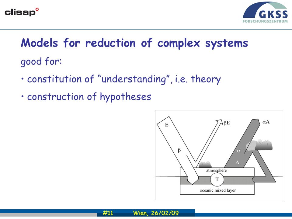 #11 Wien, 26/02/09 Models for reduction of complex systems good for: constitution of understanding, i.e.