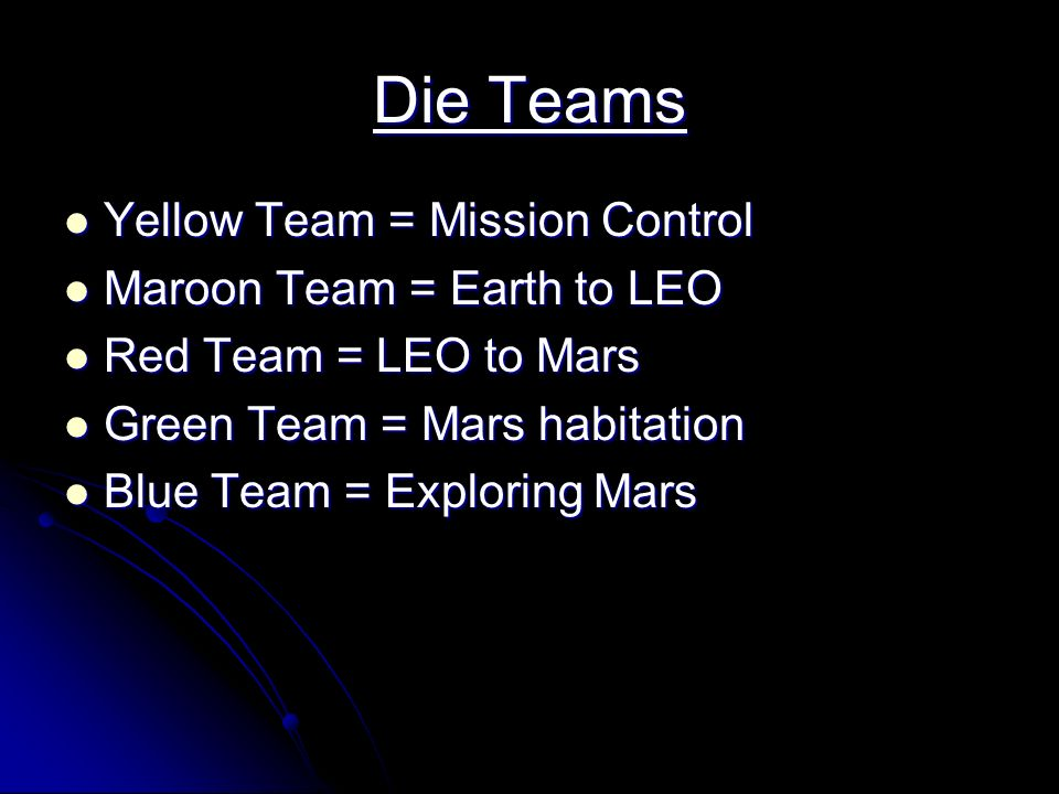 Die Teams Yellow Team = Mission Control Yellow Team = Mission Control Maroon Team = Earth to LEO Maroon Team = Earth to LEO Red Team = LEO to Mars Red Team = LEO to Mars Green Team = Mars habitation Green Team = Mars habitation Blue Team = Exploring Mars Blue Team = Exploring Mars