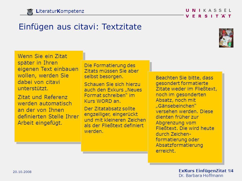 Exkurs Einfügenzitat 1 4 Dr Barbara Hoffmann