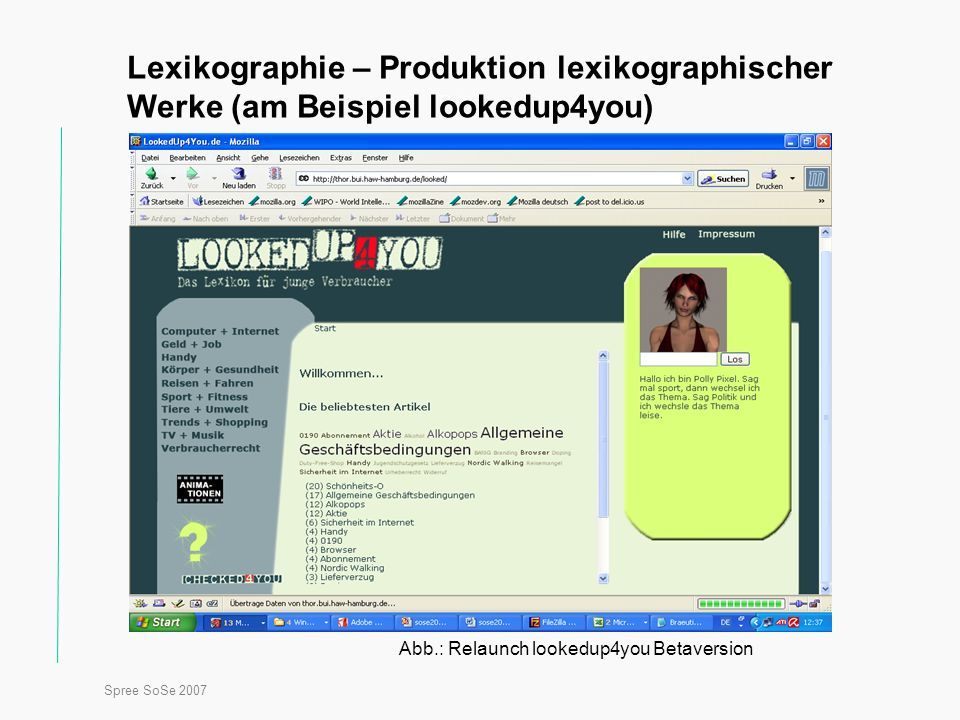 Spree SoSe 2007 Titel Lexikographie – Produktion lexikographischer Werke (am Beispiel lookedup4you) Abb.: Relaunch lookedup4you Betaversion