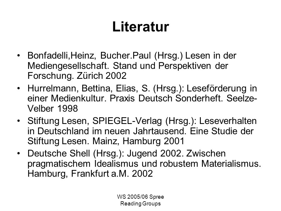 WS 2005/06 Spree Reading Groups Literatur Bonfadelli,Heinz, Bucher.Paul (Hrsg.) Lesen in der Mediengesellschaft.