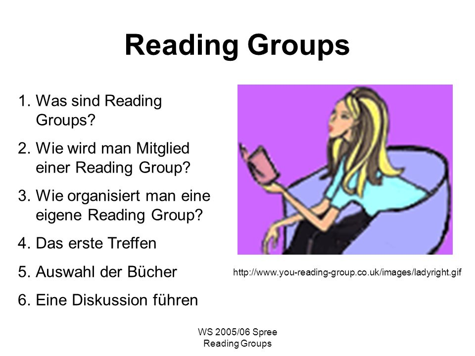 WS 2005/06 Spree Reading Groups Reading Groups 1.Was sind Reading Groups.