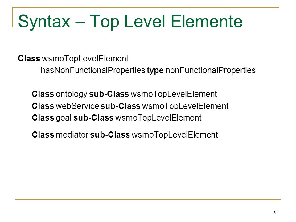 31 Syntax – Top Level Elemente Class wsmoTopLevelElement hasNonFunctionalProperties type nonFunctionalProperties Class ontology sub-Class wsmoTopLevelElement Class webService sub-Class wsmoTopLevelElement Class goal sub-Class wsmoTopLevelElement Class mediator sub-Class wsmoTopLevelElement