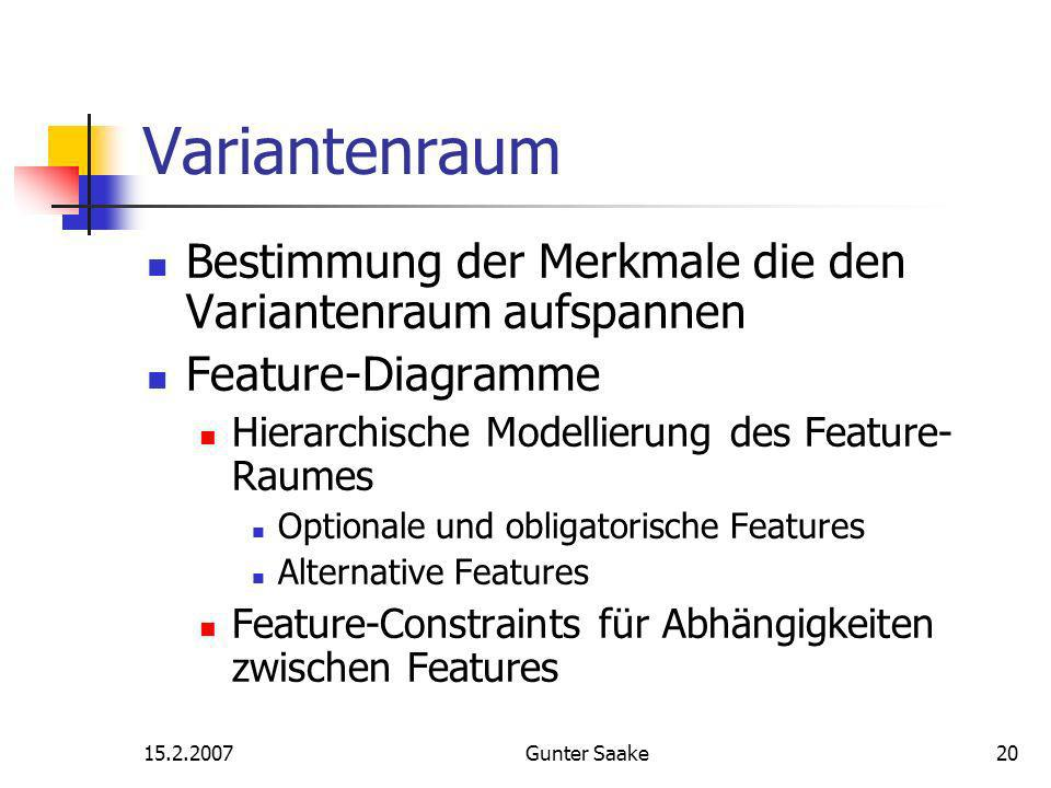 15.2.2007Gunter Saake20 Variantenraum Bestimmung der Merkmale die den Variantenraum aufspannen Feature-Diagramme Hierarchische Modellierung des Feature- Raumes Optionale und obligatorische Features Alternative Features Feature-Constraints für Abhängigkeiten zwischen Features