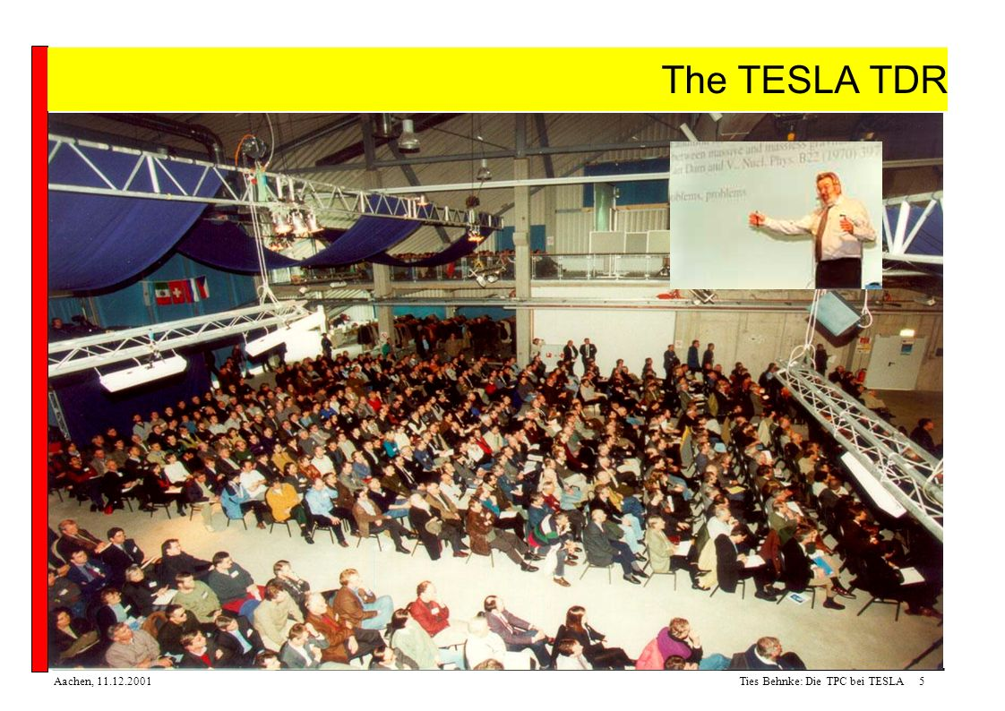 Ties Behnke: Die TPC bei TESLA5Aachen, 11.12.2001 The TESLA TDR The TESLA TDR: published March 2001 see http://tesla.desy.de/tdr Presented to the public at the TESLA scientific colloquium, 23/24 March 2001 in DESY Hamburg