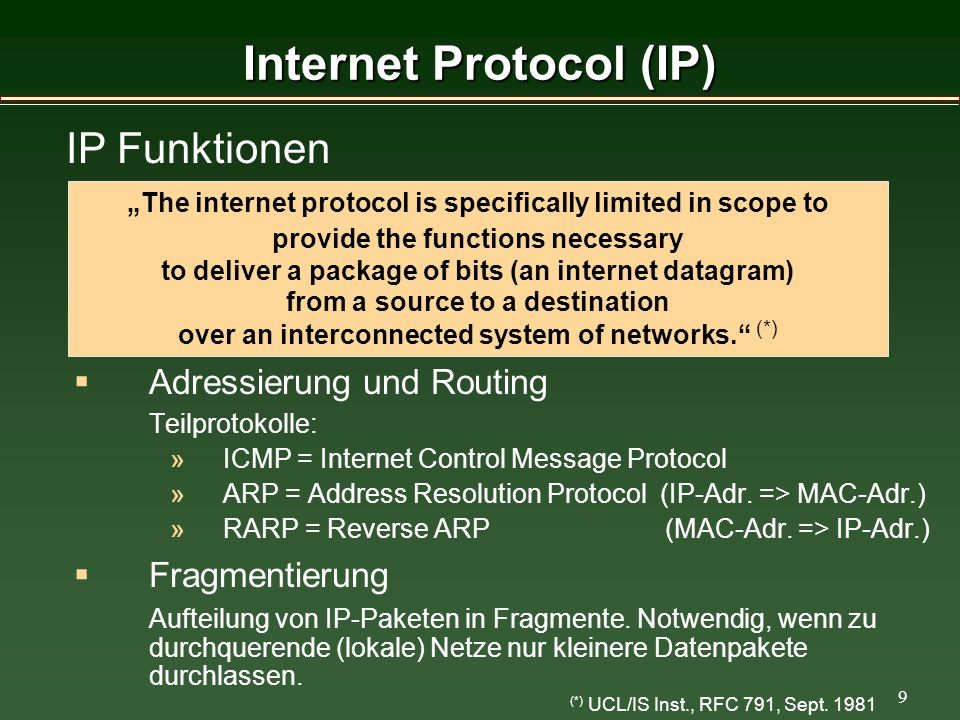 9 Internet Protocol (IP) (*) UCL/IS Inst., RFC 791, Sept.