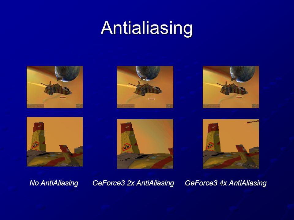 Antialiasing No AntiAliasingGeForce3 2x AntiAliasingGeForce3 4x AntiAliasing