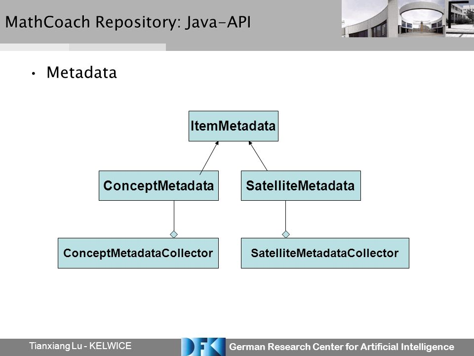 German Research Center for Artificial Intelligence Tianxiang Lu - KELWICE MathCoach Repository: Java-API Metadata ItemMetadata SatelliteMetadataConceptMetadata ConceptMetadataCollectorSatelliteMetadataCollector