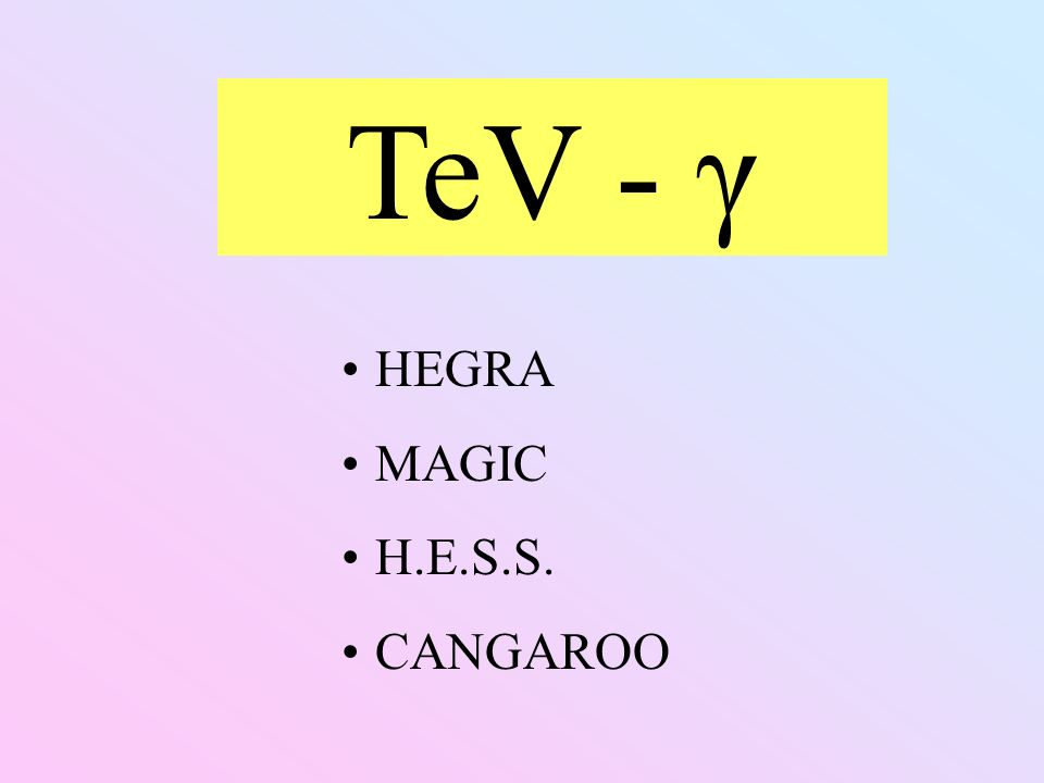TeV - γ HEGRA MAGIC H.E.S.S. CANGAROO
