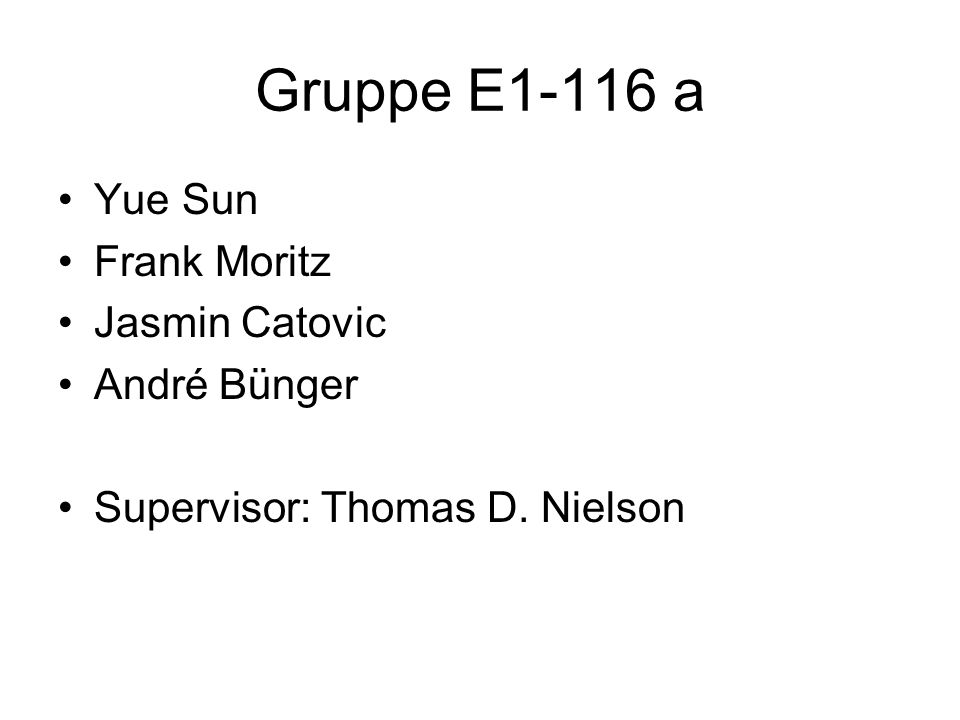 Gruppe E1-116 a Yue Sun Frank Moritz Jasmin Catovic André Bünger Supervisor: Thomas D. Nielson