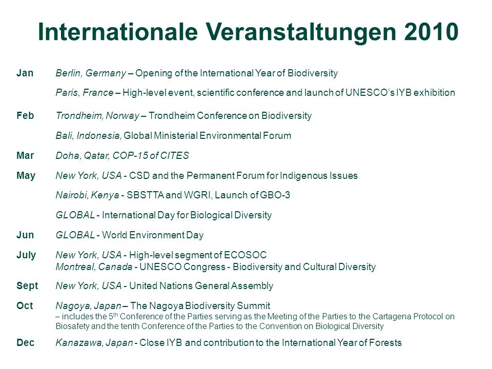 Internationale Veranstaltungen 2010 JanBerlin, Germany – Opening of the International Year of Biodiversity Paris, France – High-level event, scientific conference and launch of UNESCOs IYB exhibition FebTrondheim, Norway – Trondheim Conference on Biodiversity Bali, Indonesia, Global Ministerial Environmental Forum MarDoha, Qatar, COP-15 of CITES MayNew York, USA - CSD and the Permanent Forum for Indigenous Issues Nairobi, Kenya - SBSTTA and WGRI, Launch of GBO-3 GLOBAL - International Day for Biological Diversity JunGLOBAL - World Environment Day JulyNew York, USA - High-level segment of ECOSOC Montreal, Canada - UNESCO Congress - Biodiversity and Cultural Diversity SeptNew York, USA - United Nations General Assembly OctNagoya, Japan – The Nagoya Biodiversity Summit – includes the 5 th Conference of the Parties serving as the Meeting of the Parties to the Cartagena Protocol on Biosafety and the tenth Conference of the Parties to the Convention on Biological Diversity DecKanazawa, Japan - Close IYB and contribution to the International Year of Forests