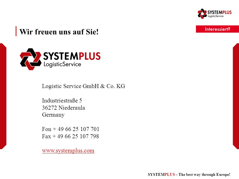 SYSTEMPLUS – The best way through Europe. Logistic Service GmbH & Co.
