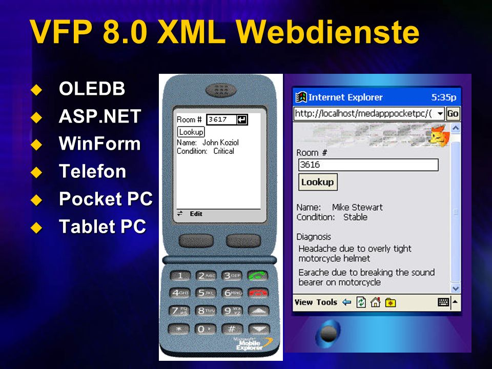 VFP 8.0 XML Webdienste OLEDB OLEDB ASP.NET ASP.NET WinForm WinForm Telefon Telefon Pocket PC Pocket PC Tablet PC Tablet PC