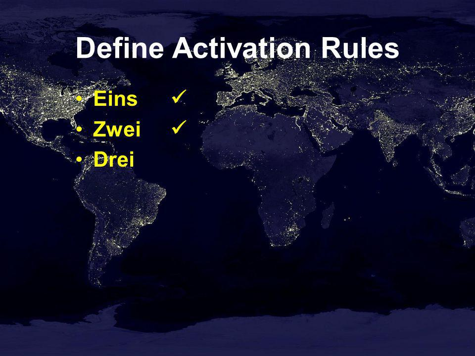 Define Activation Rules Eins Zwei Drei