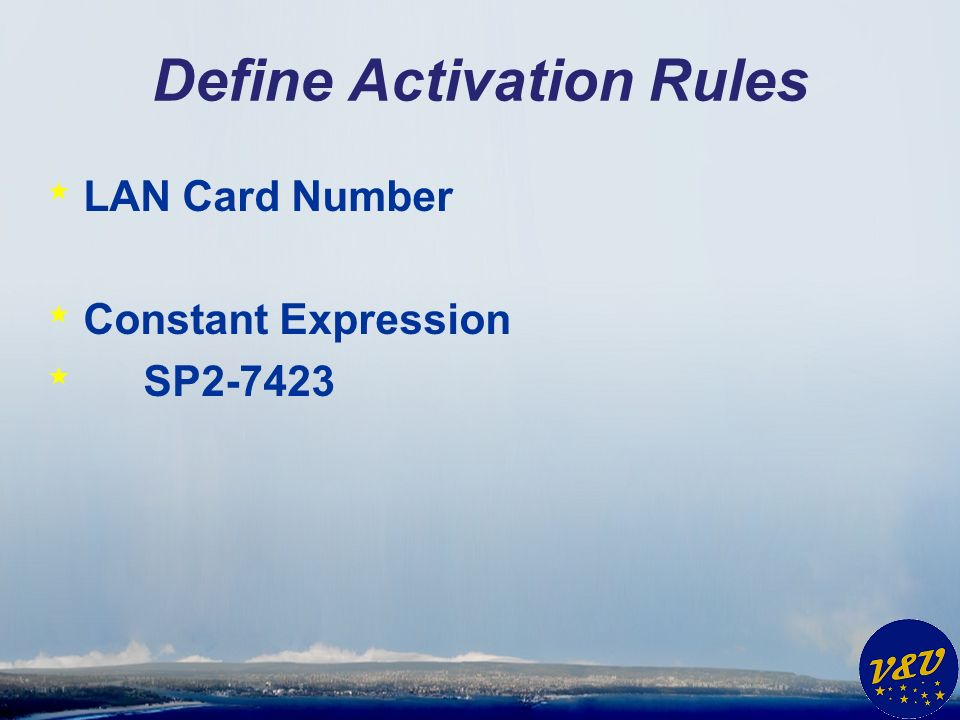 Define Activation Rules * LAN Card Number * Constant Expression * SP2-7423