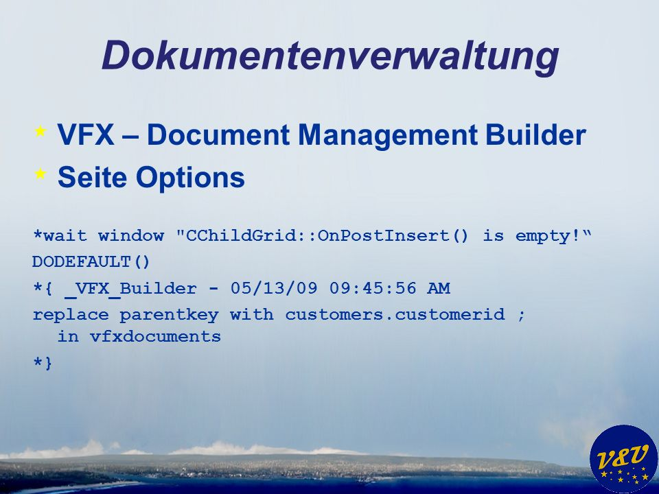Dokumentenverwaltung * VFX – Document Management Builder * Seite Options *wait window CChildGrid::OnPostInsert() is empty.
