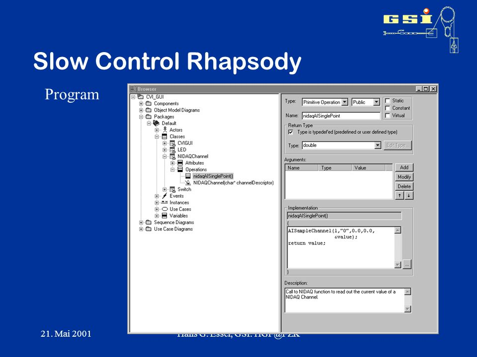 21. Mai 2001Hans G. Essel, GSI: Slow Control Rhapsody Program