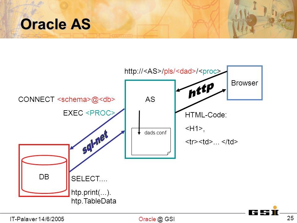 IT-Palaver GSI 25 Oracle AS Browser AS DB   /pls/ / dads.conf EXEC SELECT....