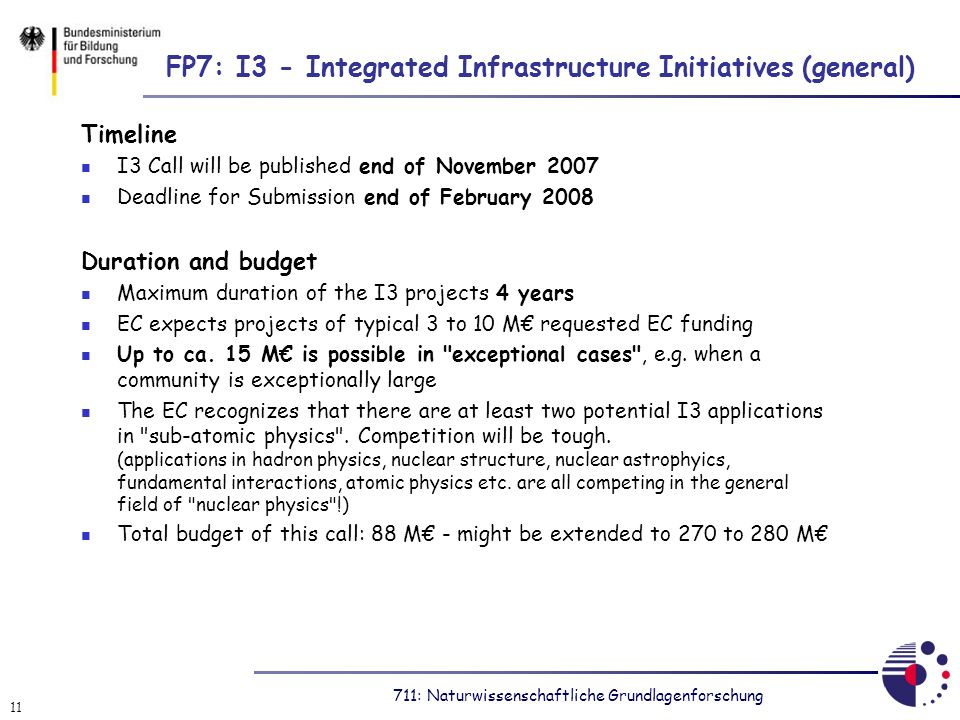 711: Naturwissenschaftliche Grundlagenforschung 11 FP7: I3 - Integrated Infrastructure Initiatives (general) Timeline I3 Call will be published end of November 2007 Deadline for Submission end of February 2008 Duration and budget Maximum duration of the I3 projects 4 years EC expects projects of typical 3 to 10 M requested EC funding Up to ca.