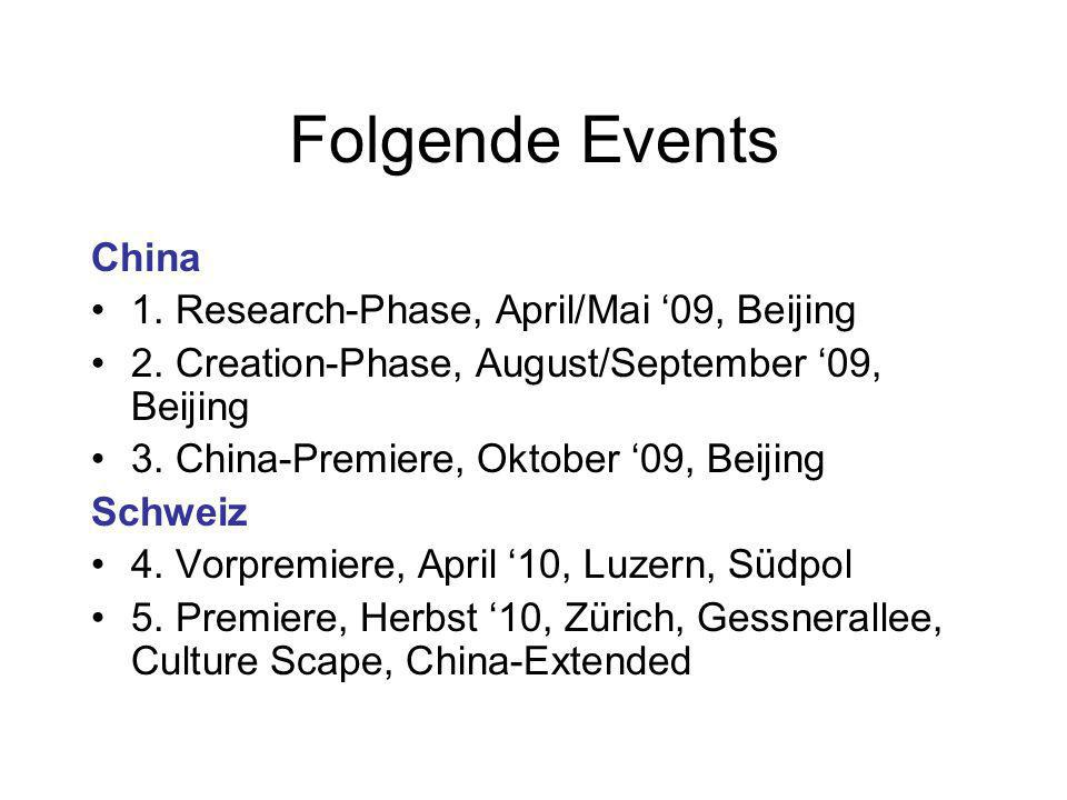 Folgende Events China 1. Research-Phase, April/Mai 09, Beijing 2.