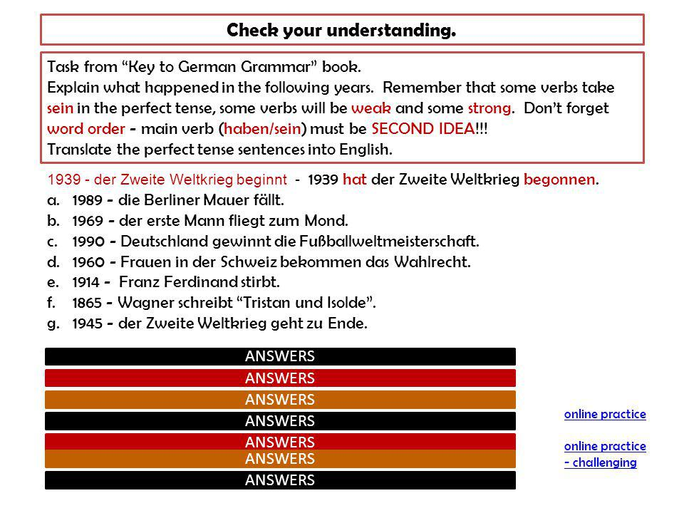 Check your understanding. Task from Key to German Grammar book.
