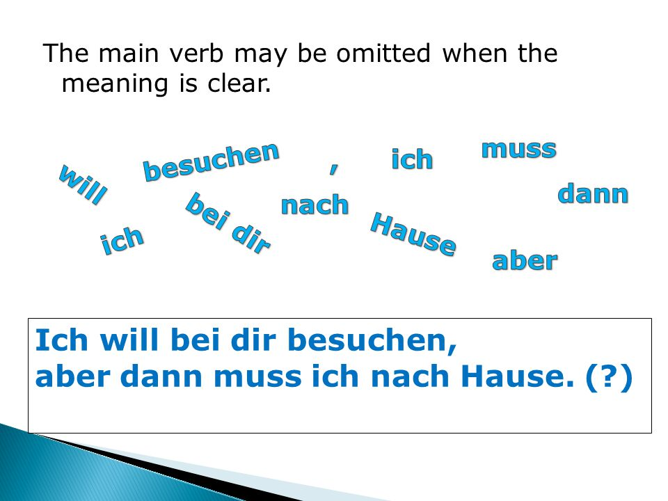 The main verb may be omitted when the meaning is clear.