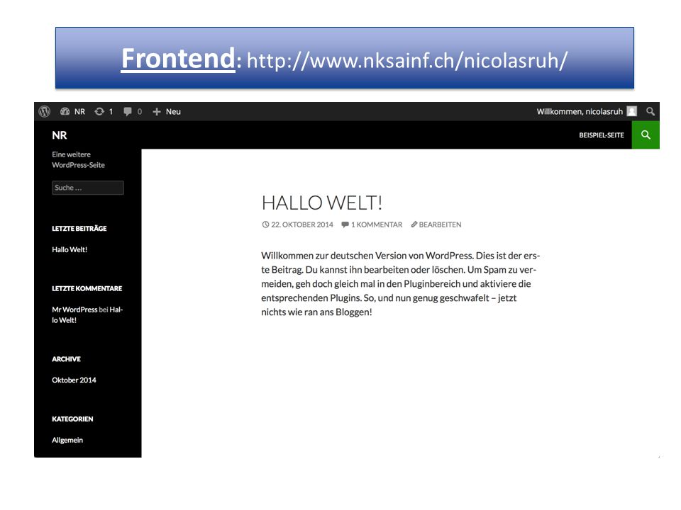 Frontend : http://www.nksainf.ch/nicolasruh/