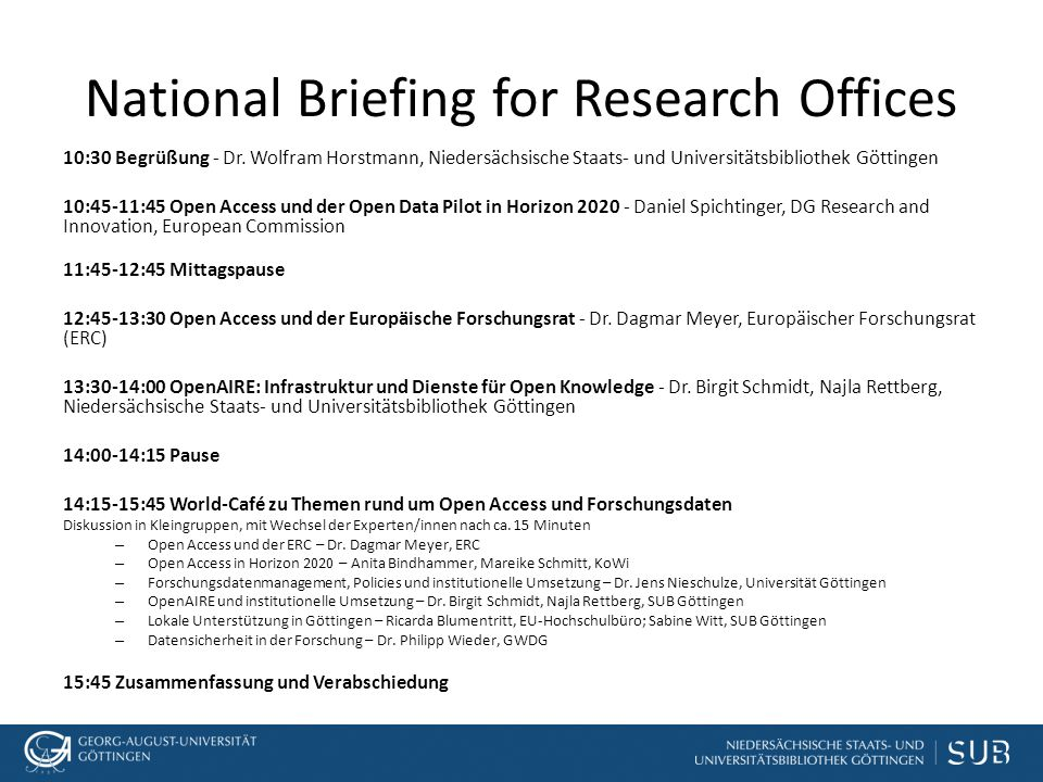 National Briefing for Research Offices 10:30 Begrüßung - Dr.