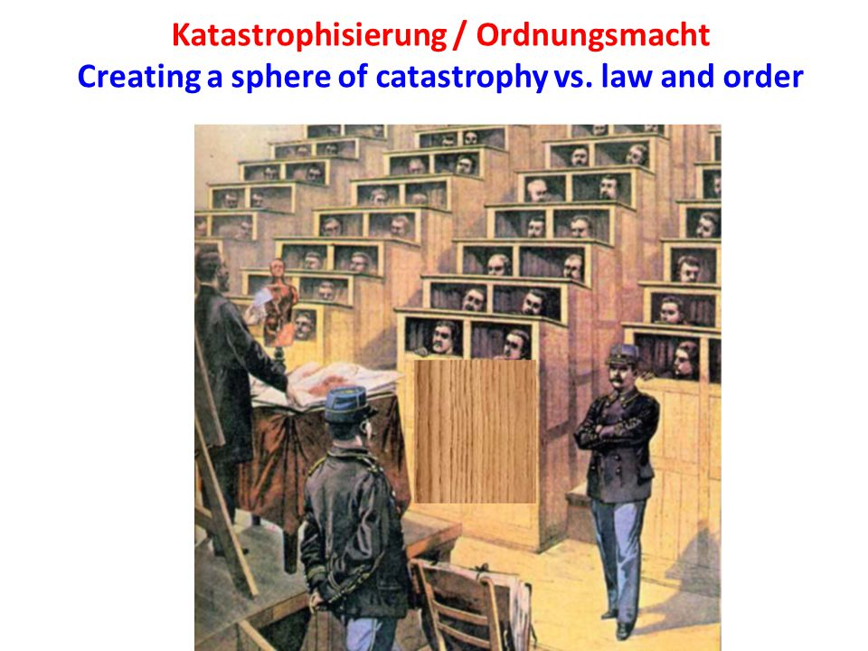Katastrophisierung / Ordnungsmacht Creating a sphere of catastrophy vs. law and order