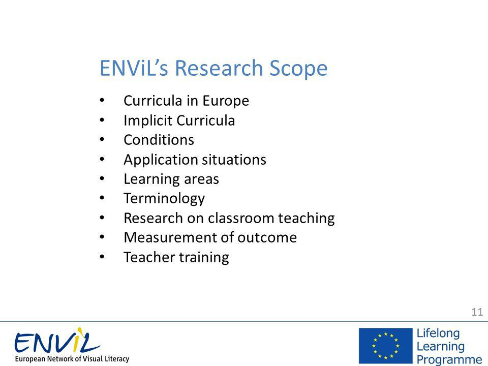 11 ENViL's Research Scope Curricula in Europe Implicit Curricula Conditions Application situations Learning areas Terminology Research on classroom teaching Measurement of outcome Teacher training