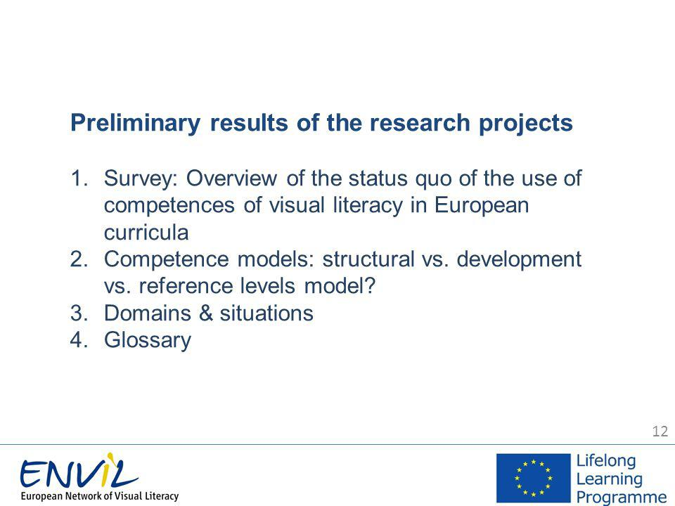 12 Preliminary results of the research projects 1.Survey: Overview of the status quo of the use of competences of visual literacy in European curricula 2.Competence models: structural vs.