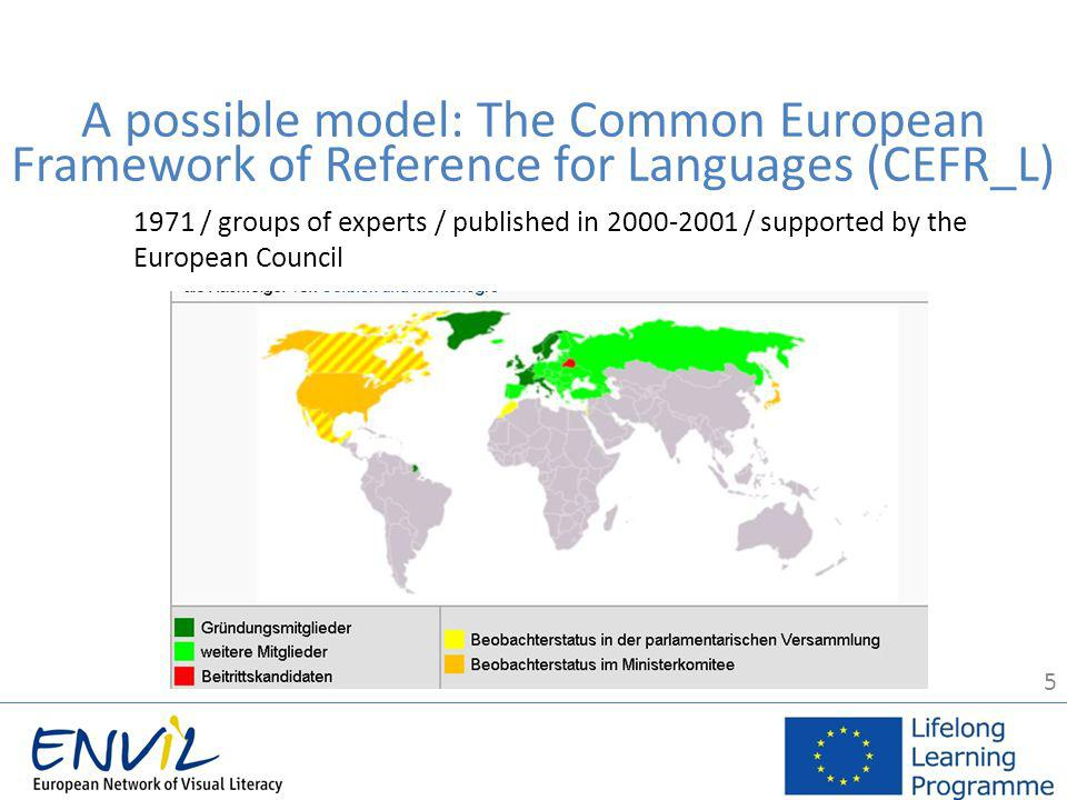 5 1971 / groups of experts / published in 2000-2001 / supported by the European Council A possible model: The Common European Framework of Reference for Languages (CEFR_L)