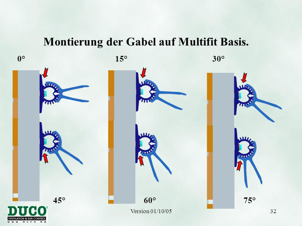 Version 01/10/0532 Montierung der Gabel auf Multifit Basis. 0° 15° 30° 45° 60° 75°