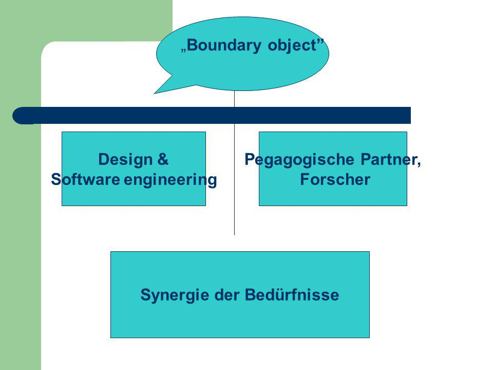 "Design & Software engineering Pegagogische Partner, Forscher Synergie der Bedürfnisse ""Boundary object"