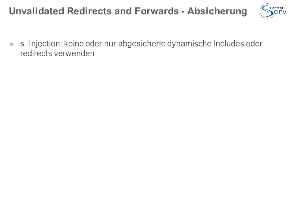 Unvalidated Redirects and Forwards - Absicherung s.