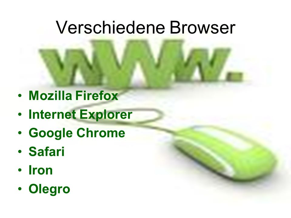 Verschiedene Browser Mozilla Firefox Internet Explorer Google Chrome Safari Iron Olegro