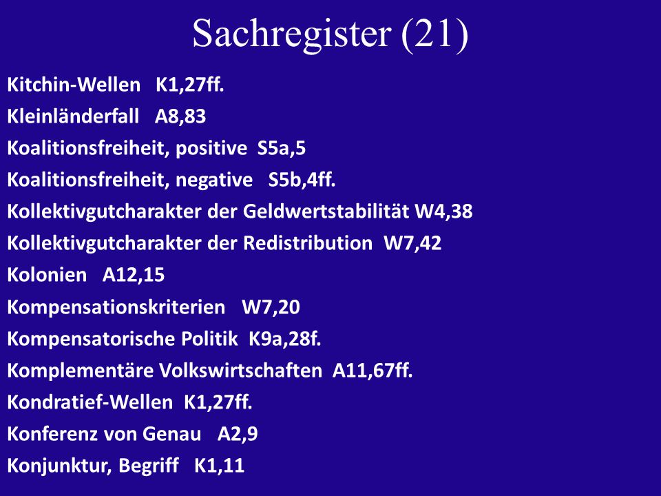 Sachregister (21) Kitchin-Wellen K1,27ff.