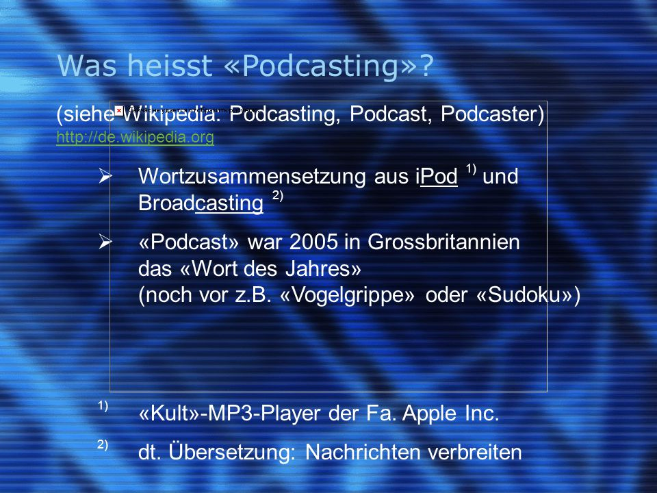 Was heisst «Podcasting».