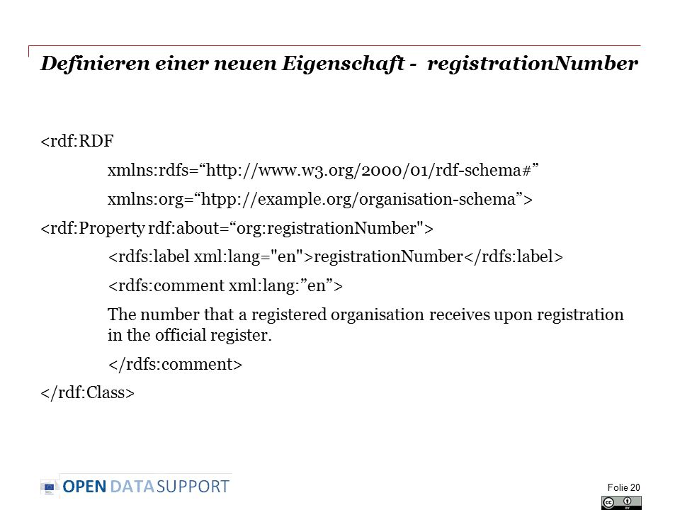 Definieren einer neuen Eigenschaft - registrationNumber <rdf:RDF xmlns:rdfs= http://www.w3.org/2000/01/rdf-schema# xmlns:org= htpp://example.org/organisation-schema > registrationNumber The number that a registered organisation receives upon registration in the official register.