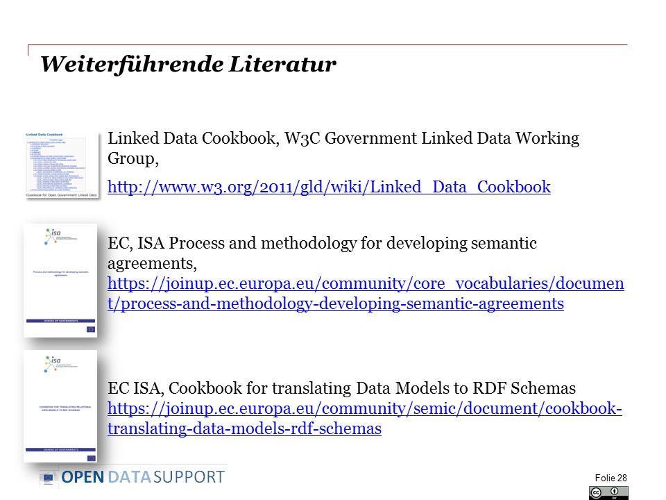 Weiterführende Literatur Linked Data Cookbook, W3C Government Linked Data Working Group, http://www.w3.org/2011/gld/wiki/Linked_Data_Cookbook EC, ISA Process and methodology for developing semantic agreements, https://joinup.ec.europa.eu/community/core_vocabularies/documen t/process-and-methodology-developing-semantic-agreements https://joinup.ec.europa.eu/community/core_vocabularies/documen t/process-and-methodology-developing-semantic-agreements EC ISA, Cookbook for translating Data Models to RDF Schemas https://joinup.ec.europa.eu/community/semic/document/cookbook- translating-data-models-rdf-schemas https://joinup.ec.europa.eu/community/semic/document/cookbook- translating-data-models-rdf-schemas Folie 28