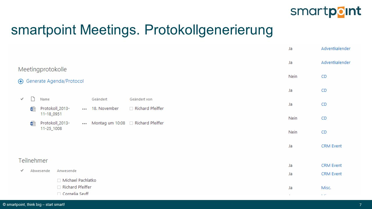 © smartpoint, think big – start smart! 7 smartpoint Meetings. Protokollgenerierung