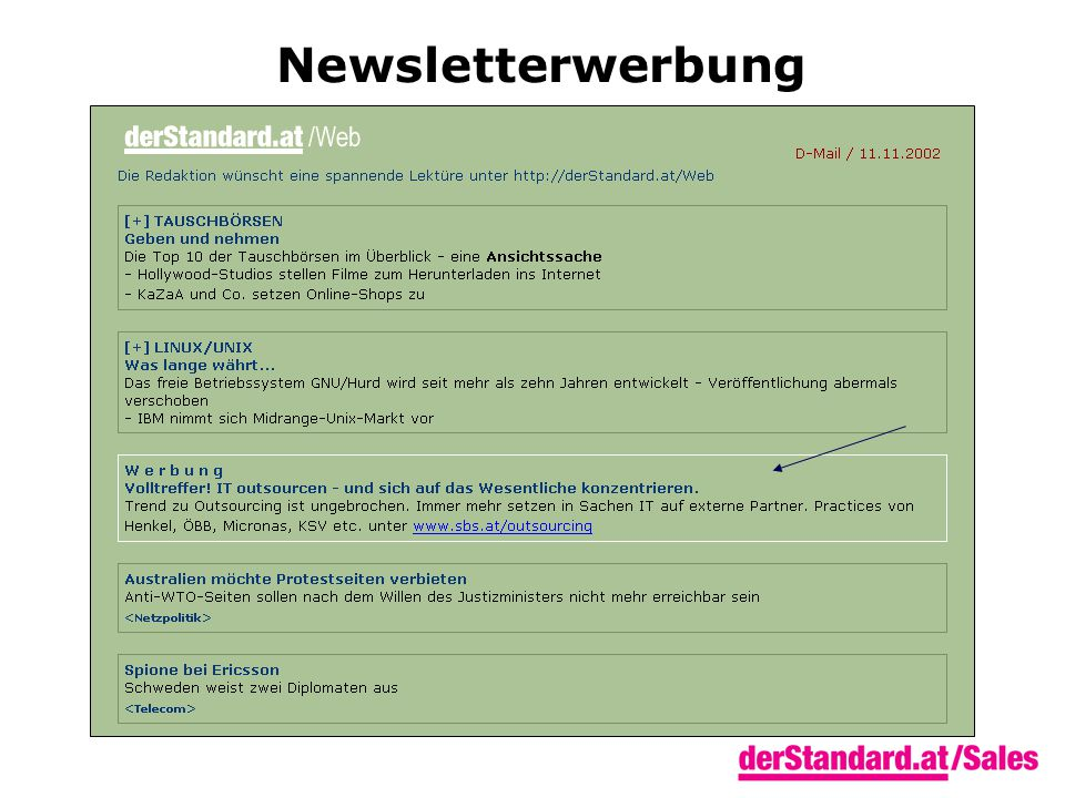 Newsletterwerbung