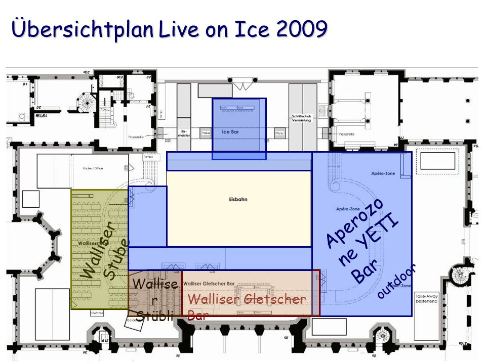 Übersichtplan Live on Ice 2009 Walliser Gletscher Bar Walliser Stube Wallise r Stübli Aperozo ne YETI Bar outdoor