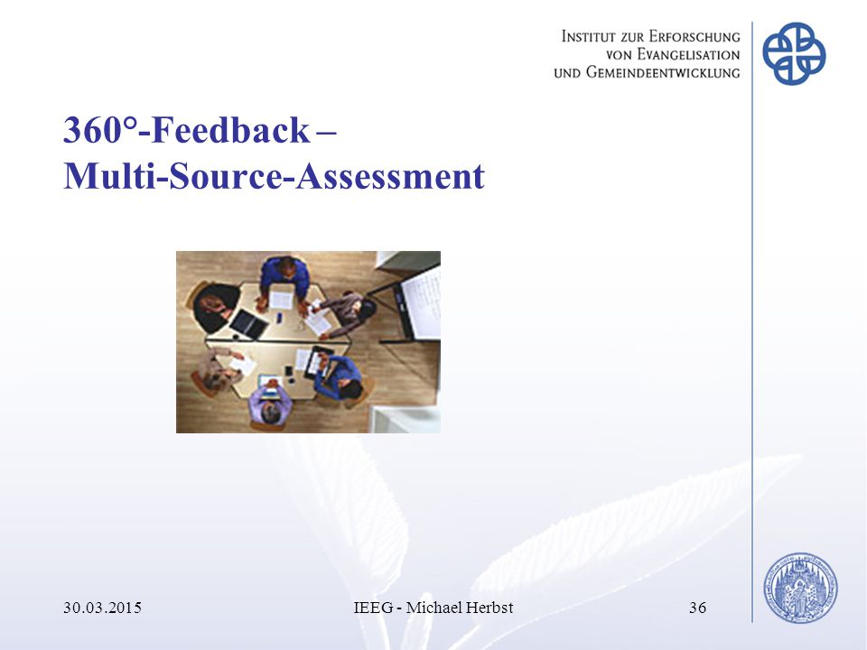 360°-Feedback – Multi-Source-Assessment 30.03.2015IEEG - Michael Herbst36