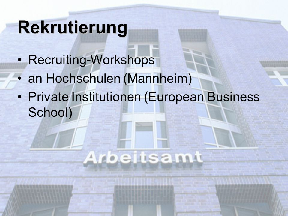 Recruiting-Workshops an Hochschulen (Mannheim) Private Institutionen (European Business School) Rekrutierung