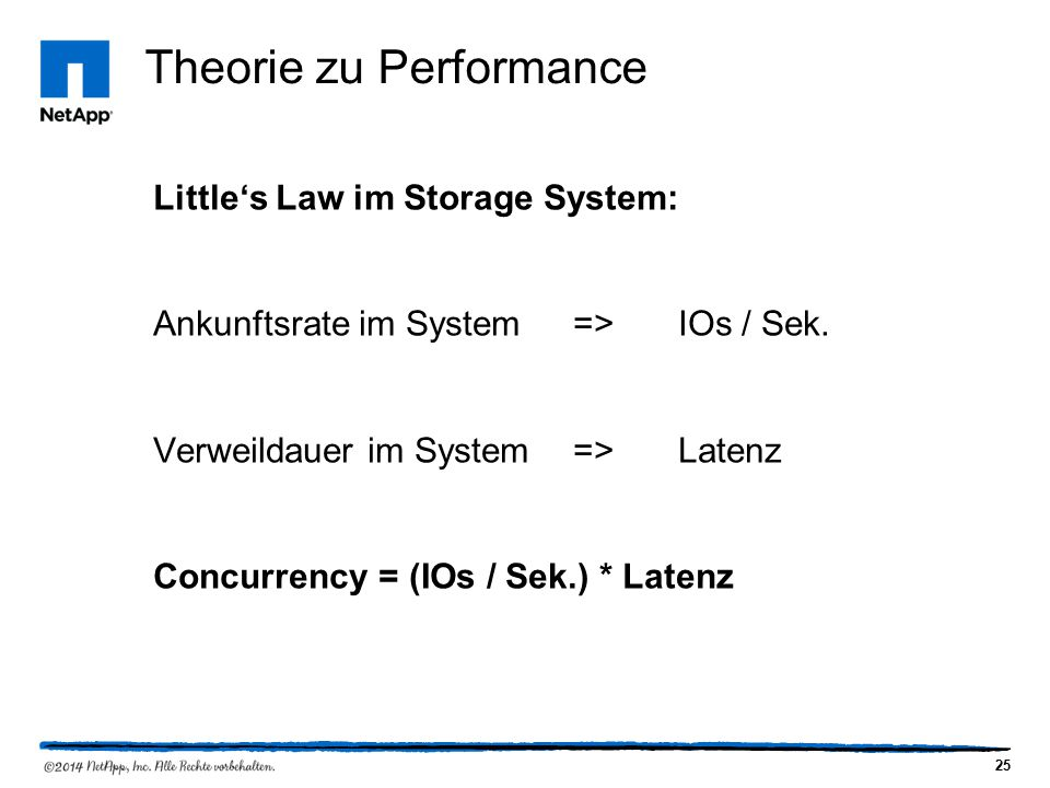 25 Theorie zu Performance Little's Law im Storage System: Ankunftsrate im System=>IOs / Sek.