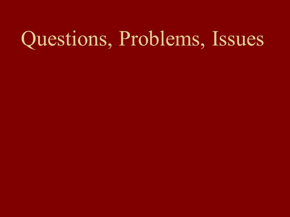 Questions, Problems, Issues