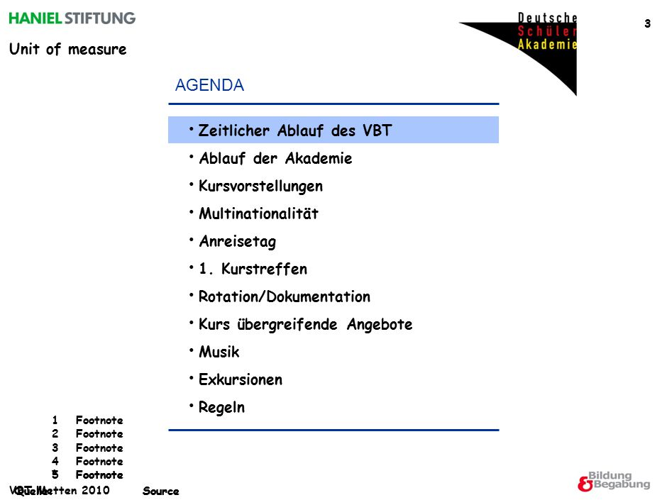 Unit of measure *Footnote Quelle:Source 1Footnote 2Footnote 3Footnote 4Footnote 5Footnote Quelle:Source VBT Metten 2010 3 AGENDA Zeitlicher Ablauf des VBT Ablauf der Akademie Kursvorstellungen Multinationalität Anreisetag 1.
