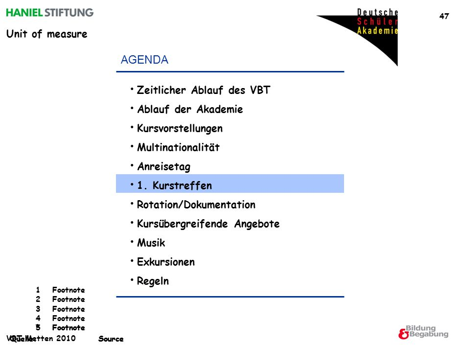 Unit of measure *Footnote Quelle:Source 1Footnote 2Footnote 3Footnote 4Footnote 5Footnote Quelle:Source VBT Metten 2010 47 AGENDA Zeitlicher Ablauf des VBT Ablauf der Akademie Kursvorstellungen Multinationalität Anreisetag 1.