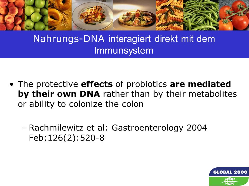 49 Nahrungs-DNA interagiert direkt mit dem Immunsystem The protective effects of probiotics are mediated by their own DNA rather than by their metabolites or ability to colonize the colon –Rachmilewitz et al: Gastroenterology 2004 Feb;126(2):520-8